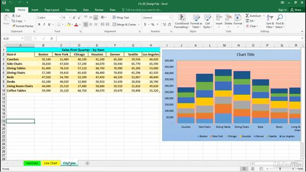 Style charts using the Design gallery or paintbrush icon: Excel 2016: Charts in Depth