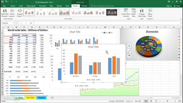Switch rows and columns for a different view of the data: Excel 2016: Charts in Depth