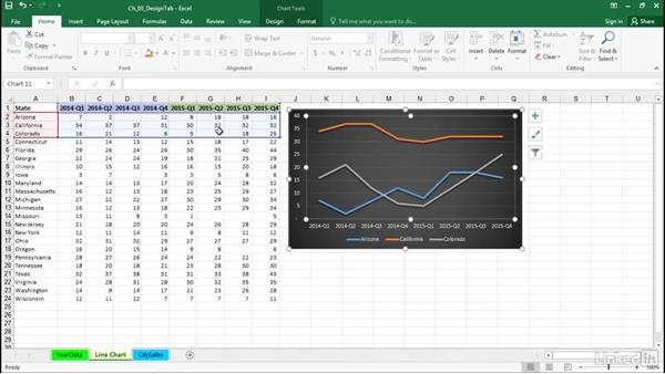 Work with empty and hidden cells: Excel 2016: Charts in Depth