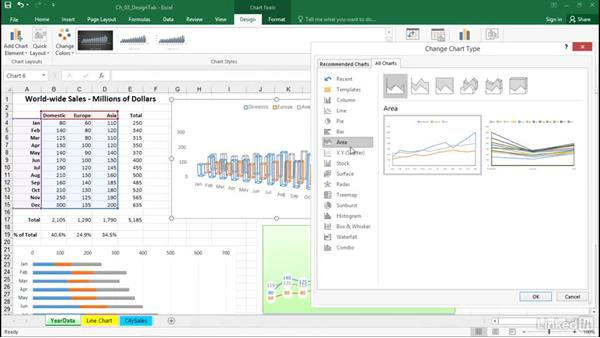 Change a chart's type: Excel 2016: Charts in Depth