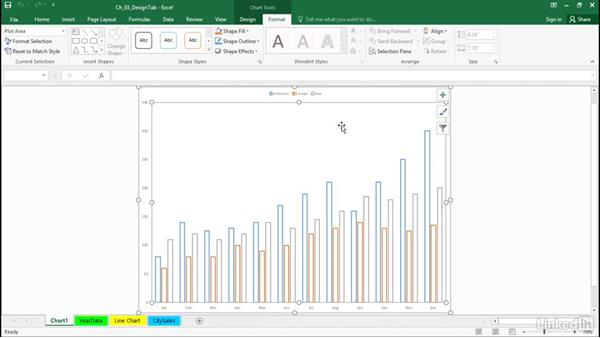 Change the location of a chart: Excel 2016: Charts in Depth