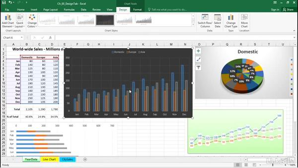 Move and resize a chart within a worksheet: Excel 2016: Charts in Depth