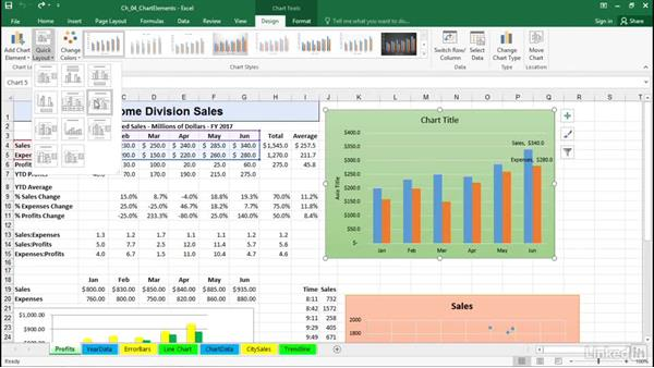 Adding, editing, and removing chart and axes titles: Excel 2016: Charts in Depth