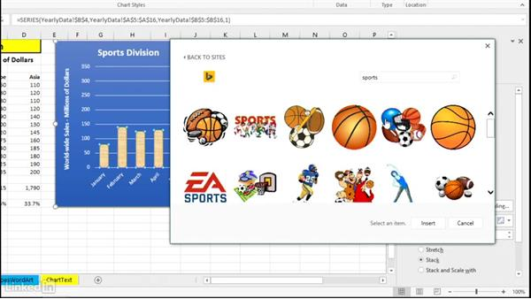 Use pictures as chart elements: Excel 2016: Charts in Depth