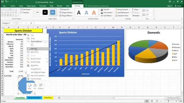 Add shapes and arrows: Excel 2016: Charts in Depth
