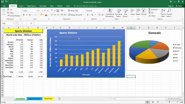 Select shape styles, fill, and outline: Excel 2016: Charts in Depth