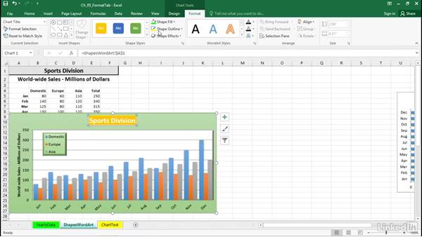 Add shape effects: Excel 2016: Charts in Depth