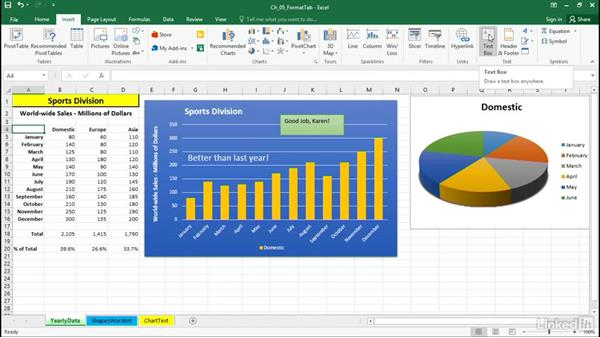 Add floating text and text boxes: Excel 2016: Charts in Depth