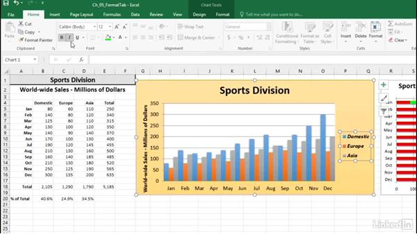 Work with chart text: Excel 2016: Charts in Depth