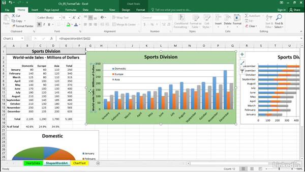 Change the rotation of chart text: Excel 2016: Charts in Depth