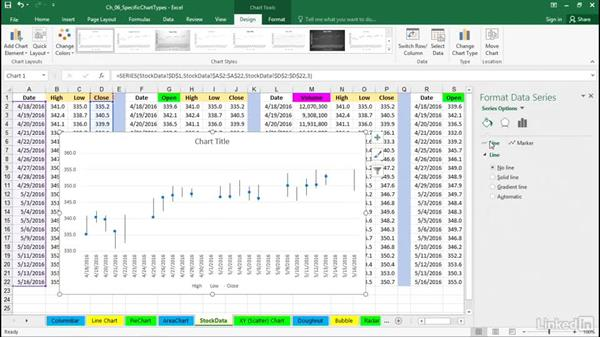 Customize area, stock, and XY charts: Excel 2016: Charts in Depth