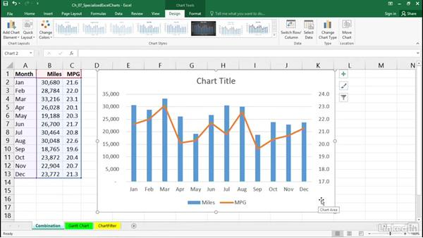 Create combination charts: Excel 2016: Charts in Depth