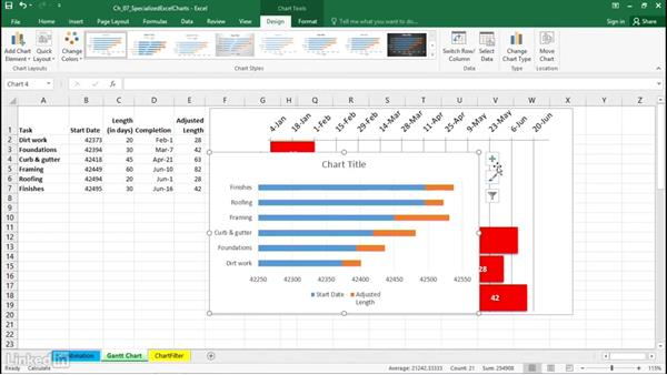 Create Gantt charts: Excel 2016: Charts in Depth