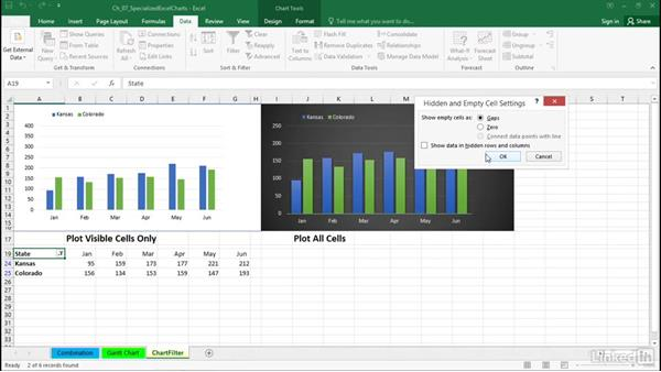 Create dynamic charts with filtering: Excel 2016: Charts in Depth