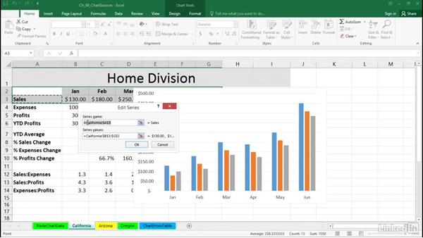 Create charts from multiple data sources: Excel 2016: Charts in Depth