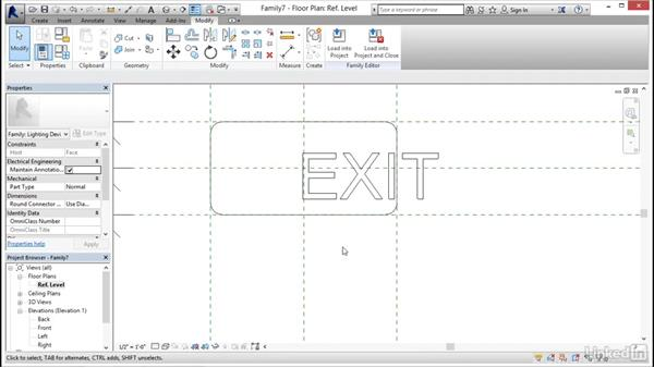 Creating a 3D exit sign: MEP Families in Revit