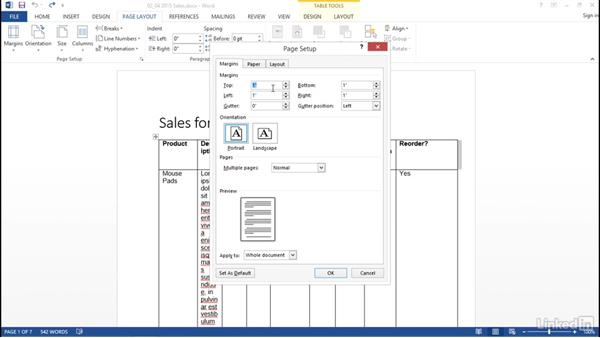 Use Page Layout to adjust margins and page orientation: Word 2013: Prepare for the Microsoft Office Specialist Certification Exam (77-418)