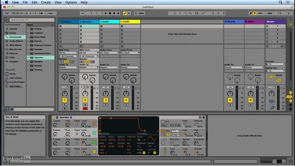 FM sound synthesis: Carrier and modulator oscillators: Up and Running with Ableton Operator