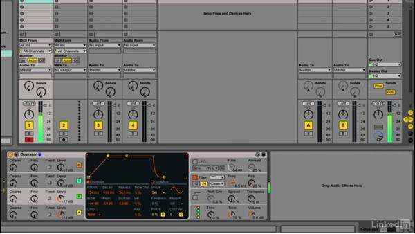 Using osc amp envelopes to shape articulation and tone: Up and Running with Ableton Operator