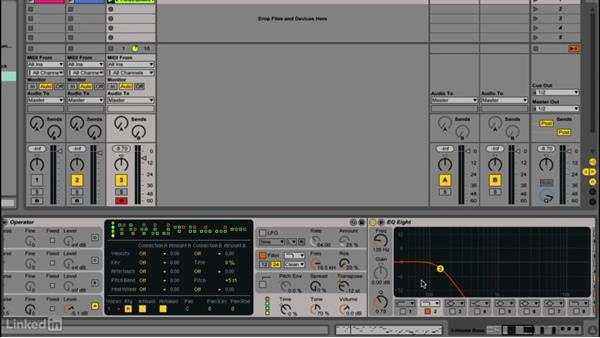 Creating a house bass sound with sidechained sub-bass: Up and Running with Ableton Operator