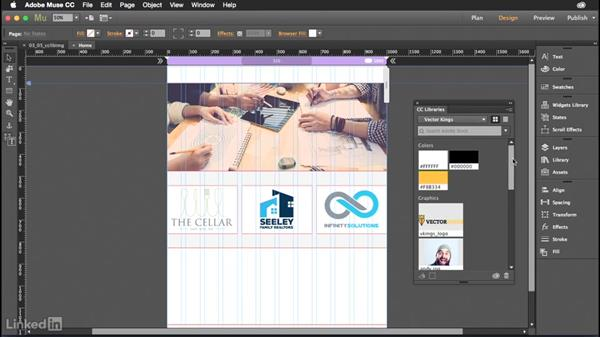 Placing graphics from CC Libraries into Muse: Muse Essential Training (2015)
