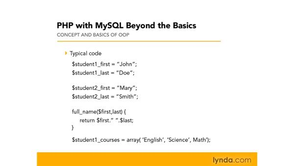 Introducing the concept and basics of OOP: PHP with MySQL Beyond the Basics