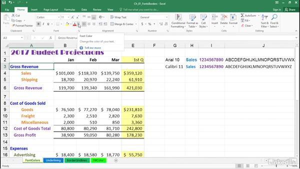 Adjust fonts, font sizes, and font colors: Excel 2016: Advanced Formatting Techniques