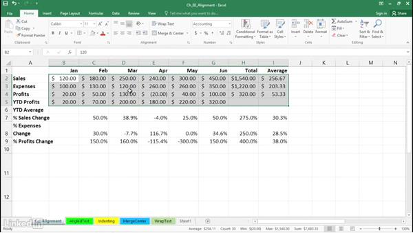 Adjust horizontal and vertical cell alignment: Excel 2016: Advanced Formatting Techniques