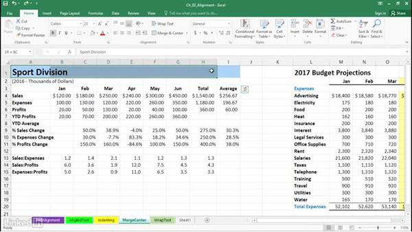 Simplify title adjustments using the Merge and Center button: Excel 2016: Advanced Formatting Techniques