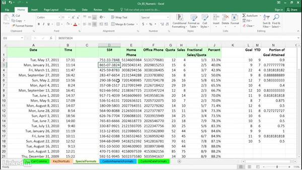 Set special formats for dates, times, phone numbers, and zip codes: Excel 2016: Advanced Formatting Techniques
