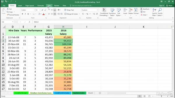 Create value-based formatting using data bars, color scales, and icons: Excel 2016: Advanced Formatting Techniques