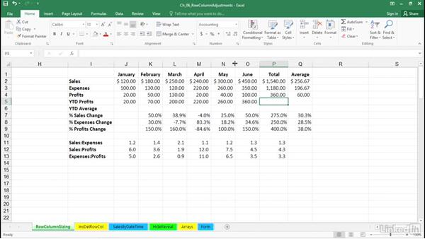 Adjust single and multiple row heights and column widths without commands: Excel 2016: Advanced Formatting Techniques
