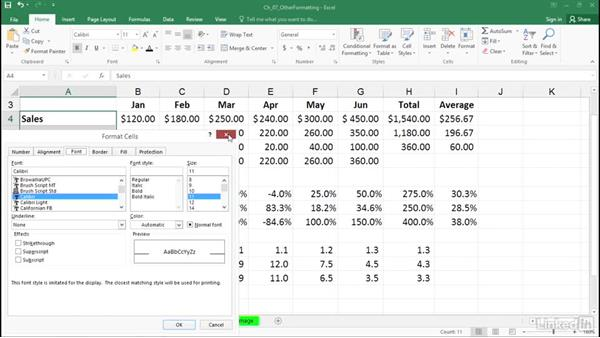 Use the Format Cells dialog box and the pop-up mini-toolbar: Excel 2016: Advanced Formatting Techniques