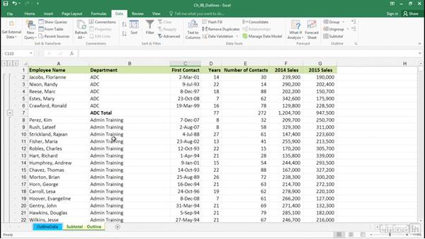 Use the Subtotal feature to create outlines: Excel 2016: Advanced Formatting Techniques