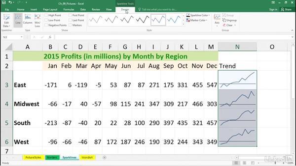 Format sparklines for optimum visual impact: Excel 2016: Advanced Formatting Techniques