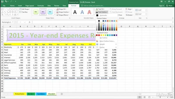 Use WordArt for formatted titles and headings: Excel 2016: Advanced Formatting Techniques