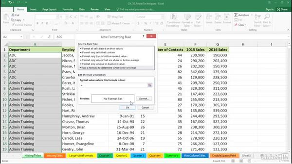 Hide repeating column titles for better printing: Excel 2016: Advanced Formatting Techniques