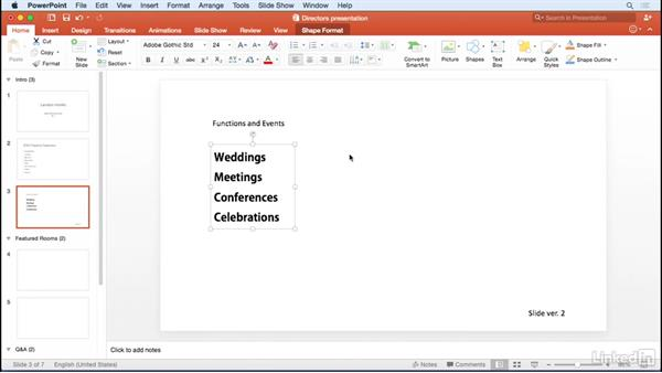Formatting text: Learn PowerPoint for Mac 2016: The Basics
