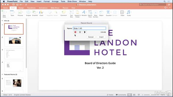 Adding audio: Learn PowerPoint for Mac 2016: The Basics