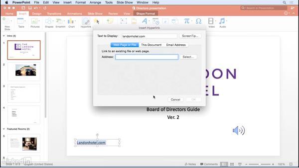 Adding hyperlinks: Learn PowerPoint for Mac 2016: The Basics