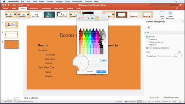 Changing slide backgrounds: Learn PowerPoint for Mac 2016: The Basics