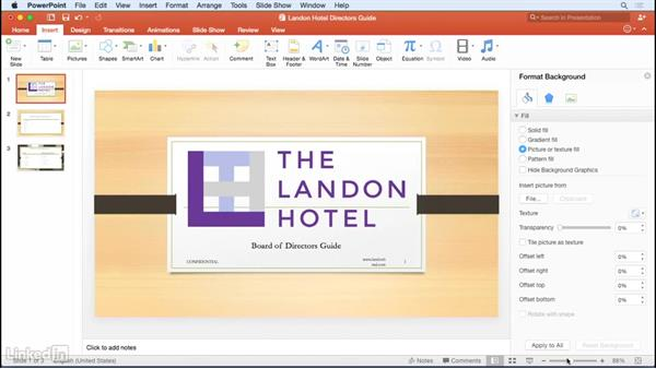 Adding headers and footers: Learn PowerPoint for Mac 2016: The Basics