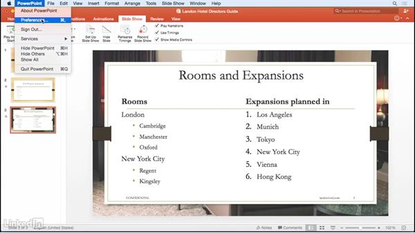 Presenting and navigating your slide deck: Learn PowerPoint for Mac 2016: The Basics