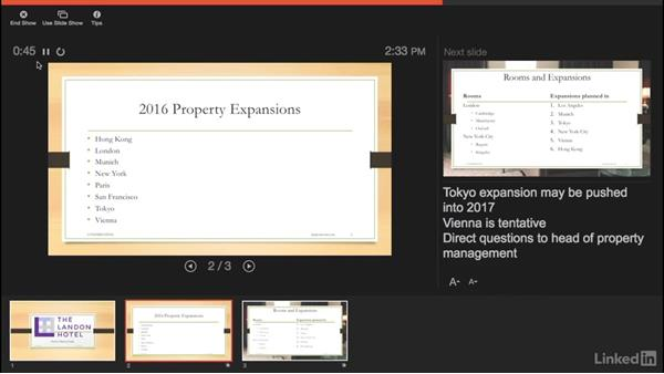 Using Presenter view with multiple screens: Learn PowerPoint for Mac 2016: The Basics