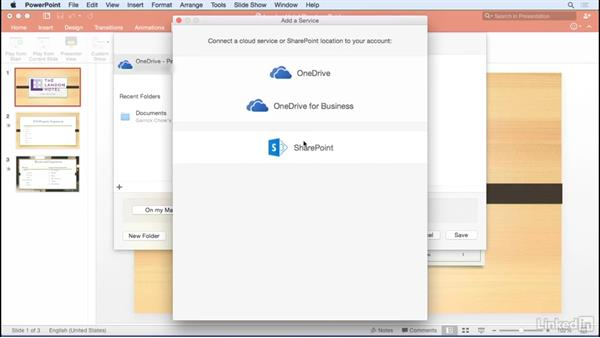 Saving to the cloud: Learn PowerPoint for Mac 2016: The Basics