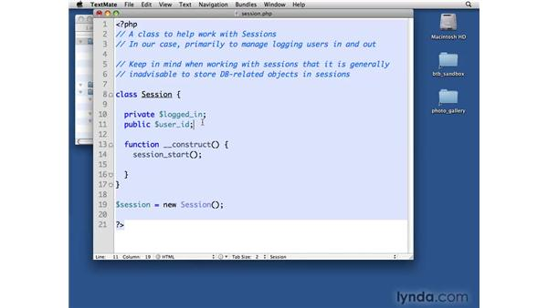 Creating the Session class: PHP with MySQL Beyond the Basics