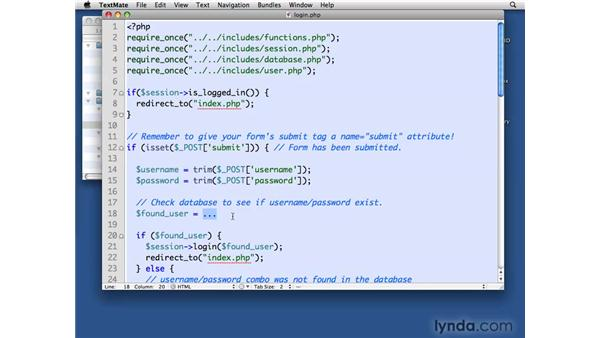 Logging in using the Session class: PHP with MySQL Beyond the Basics