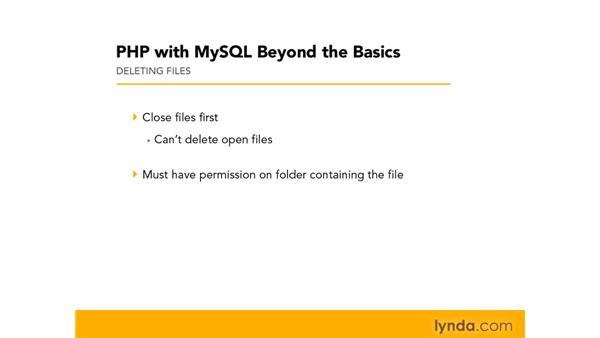 Deleting files: PHP with MySQL Beyond the Basics