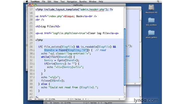 Creating a log file: Solution: PHP with MySQL Beyond the Basics