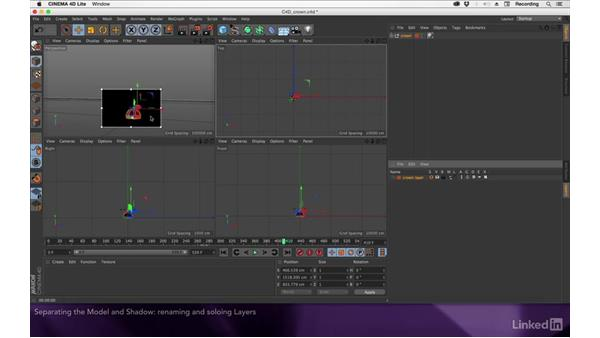 Separating the model and shadow onto layers: After Effects Apprentice 19: Motion Tracking with CINEMA 4D Lite